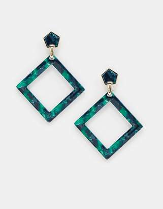 Warehouse square drop earrings in green resin