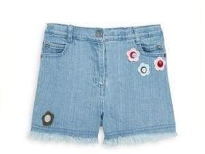 Andy & Evan Little Girl's Floral Appliqué Denim Shorts