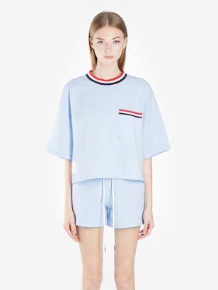 Thom Browne WOMEN S LIGHT BLUE OVERSIZED POCKET TEE IN SEERSUCKER 681f8fa4e