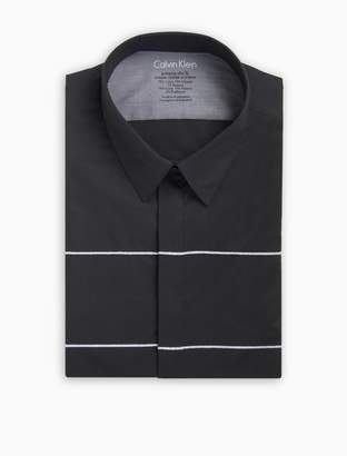 Calvin Klein x fit ultra slim fit embroidered stripe dress shirt