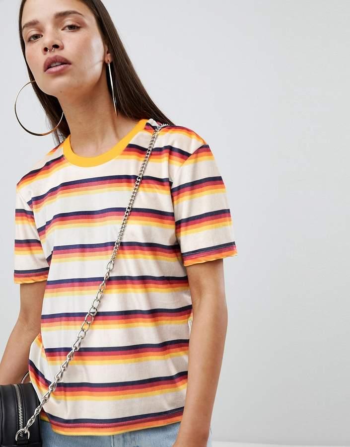 The Ragged Priest shrunken t-shirt in stripe velvet