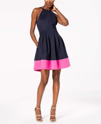 Vince Camuto Colorblocked Scuba Halter Dress