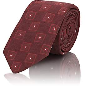 Tie Your Tie TIE YOUR TIE MEN'S FRANK SQUARE-PATTERN TEXTURED SILK NECKTIE-RED
