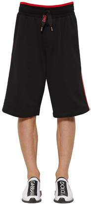 Dolce & Gabbana Cotton Jersey Shorts W/ Lettering Tape
