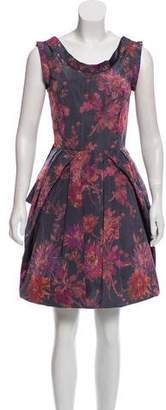 Oscar de la Renta Floral Print Sleeveless Dress