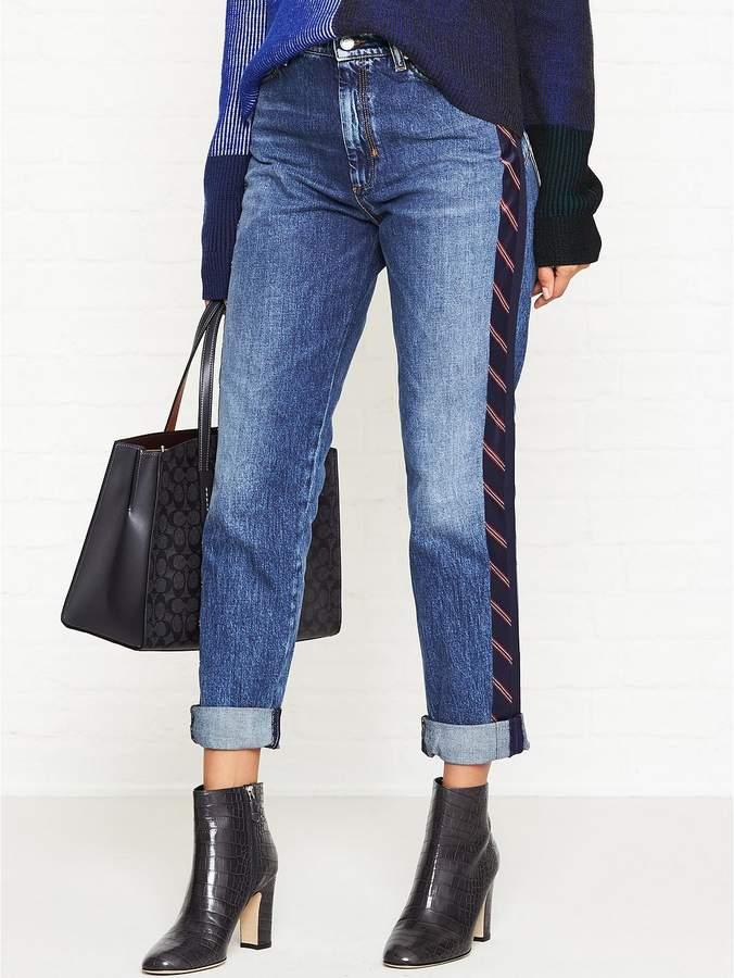 CODE Valle Boyfriend Fit Side Stripe Jeans- Blue