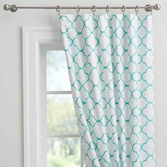 Pottery Barn Teen Lucky Clover Embroidered Blackout Curtain, 84&quot, Pool