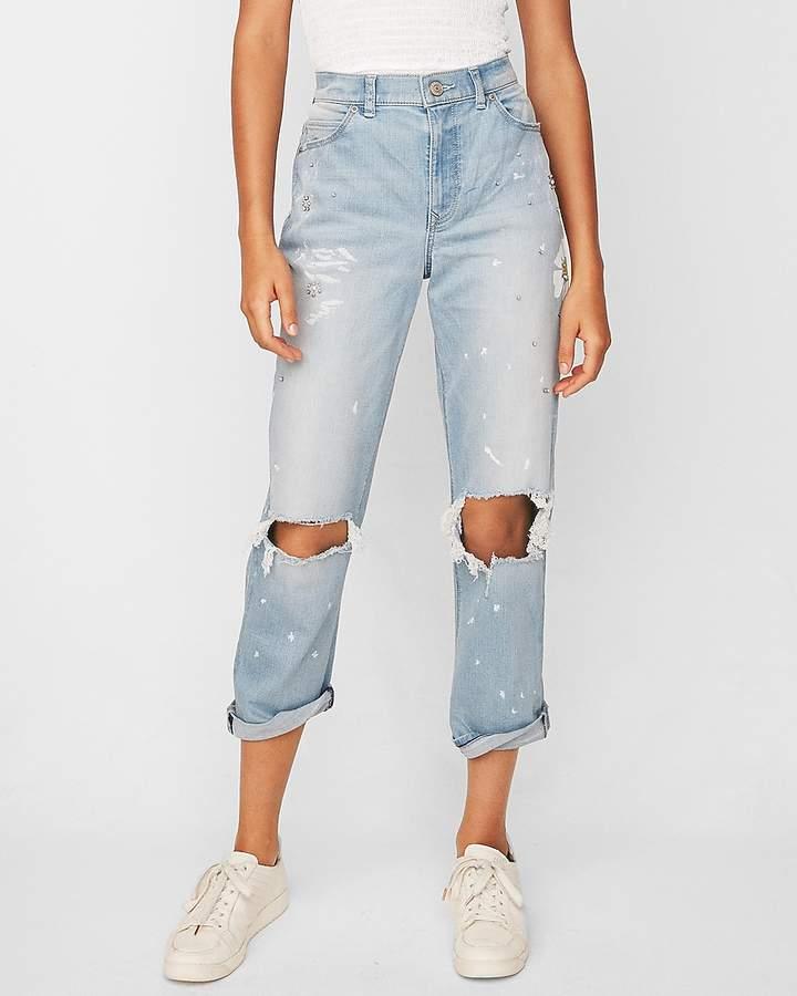 Express High Waisted Flower Ripped Original Girlfriend Jeans