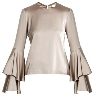 Galvan - Tiered Sleeve Crepe Back Satin Top - Womens - Silver