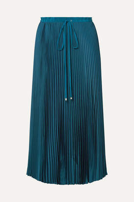 Tibi Mendini Pleated Twill Midi Skirt - Teal