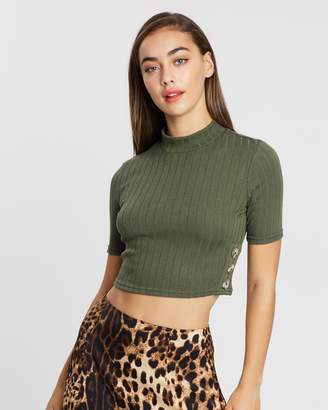 Miss Selfridge High Neck Button Side Top
