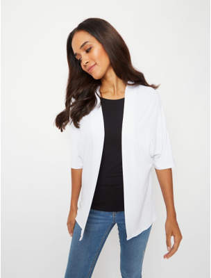 George White Crepe Open Front Cardigan