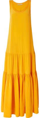 Elizabeth and James Hazel Tiered Silk-satin Maxi Dress - Saffron