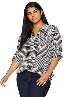 Calvin Klein Women's Plus Size Printed Split Neck ROLL Sleeve Blouse