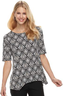 Dana Buchman Women's Print Shark-Bite Hem Top