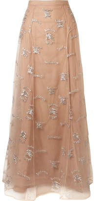 Burberry Sybilla Embroidered Tulle Maxi Skirt - Blush