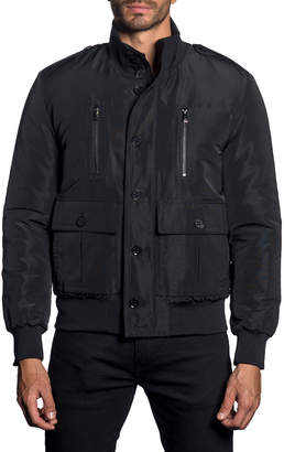 Jared Lang Semi-Fitted Stand Collar Military Jacket, Black