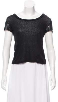 Elizabeth and James Leather-Trimmed Short Sleeve T-Shirt