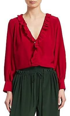 Sea Women's Solange Long-Sleeve Button-Down Ruffle Silk Blouse