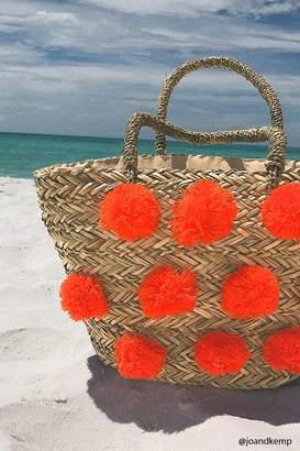 FOREVER 21+ Pom Pom Straw Beach Tote $27.90 thestylecure.com
