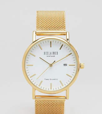 Reclaimed Vintage Inspired Mesh Strap Watch In Gold Exclusive to ASOS