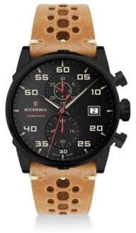 CT Scuderia Testa Piatta Ion-Plated Stainless Steel& Leather Strap Watch