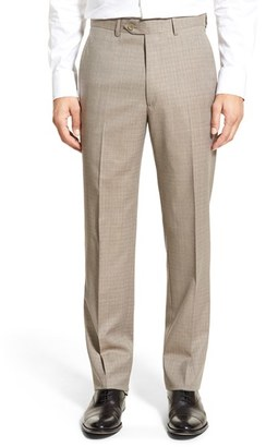 Men's Santorelli Flat Front Check Wool Trousers $245 thestylecure.com