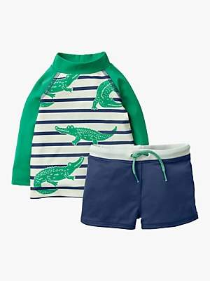 Boden Mini Baby Crocodile Stripe Rash Vest and Shorts Set, Deep Sea Blue