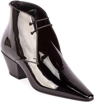 Saint Laurent Belle Shiny Lace-Up Dress Shoes