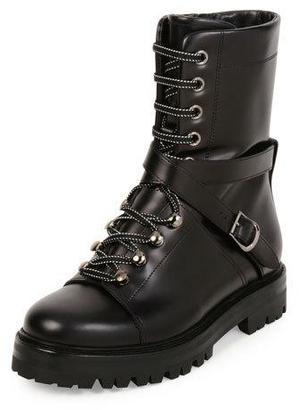 Valentino Rockstud Leather Combat Boot, Nero $1,795 thestylecure.com