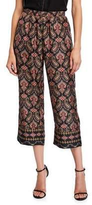 Kobi Halperin Heddie Paisley Cropped Silk Pants