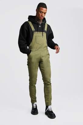 boohoo Khaki Slim Fit Denim Overalls