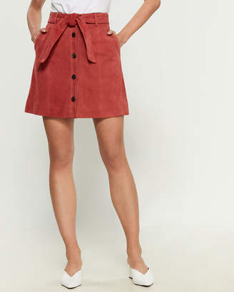 Joie Tie Waist Button-Down Leather Flare Skirt