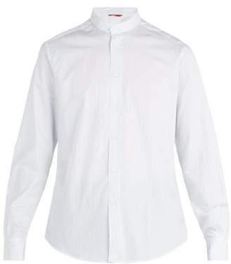 Barena Venezia - Granddad Collar Striped Cotton Shirt - Mens - Light Blue