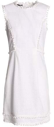 Pompom-Trimmed Broderie Anglaise Cotton Mini Dress