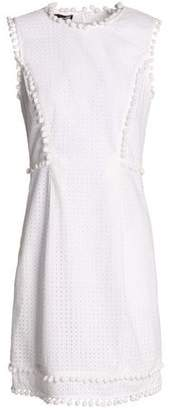 Love Moschino Woman Pompom-embellished Broderie Anglaise Cotton Mini Dress White Size 38 Love Moschino Largest Supplier AVDa1GBrTc