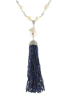 Lapis Cosanuova - Sterling Silver Pearl & Tassel Necklace