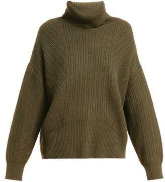 Nili Lotan Kiernan Ribbed Knit Cashmere Roll Neck Sweater - Womens - Khaki