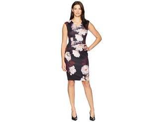 Calvin Klein Floral V-Neck Sheath Dress CD8M38AV