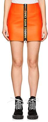 "Heron Preston Women's ""Handle With Care"" Leather Miniskirt"