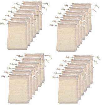 Erlvery DaMain Pack of 24pcs 2.75x4 Inch Wood color Double Drawstring Cotton Linen Jute Cloth Sack Muslin Bags Jewelry Pouch Reusable Bags Tea Bags Souvenir Gift Bag
