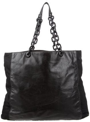 prada Prada Tessuto & Leather Chain Tote