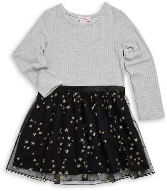 Design History Little Girl's Knit Ruffled Dress - Marble Heather, Size 6-6x