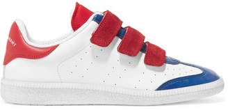 Isabel Marant Beth Suede-trimmed Color-block Leather Sneakers - White