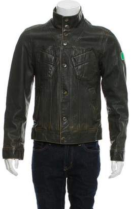 Dolce & Gabbana Leather Button-Up Jacket