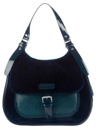 Longchamp Leather-Trimmed Shearling Satchel