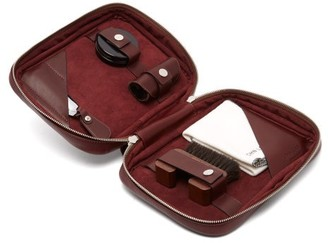 John Lobb Shoe Care Leather Travel Case - Mens - Burgundy