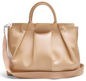 The Row Peggy Pleated Leather Shoulder Bag - Womens - Beige