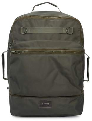 SANDQVIST Algot Army Green Canvas Backpack