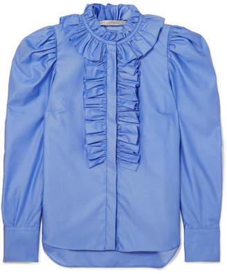 Stella McCartney Shaylee Ruffled Cotton-poplin Blouse - Blue